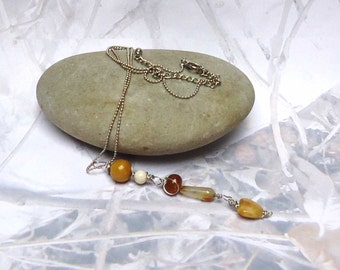 Vintage 5 Stone Drop Bead Necklace Delicate Chain Beautiful Wire Wrapped Caramel Stones