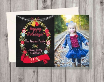 Digital Chalkboard Winter Christmas Rustic Floral Christmas Holiday Card Personalized Printable Photo