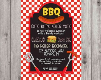 Digital Chalkboard BBQ Barbecue Red Summer Cookout Party Invitation Printable
