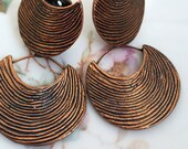 Vintage Signed Reinad Copper Modernist Abrtact Clip style earrings