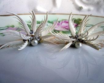 Vintage Shrimp Claw Shell Earring Pearls Rhinestones Unique Taxidermy Oddity