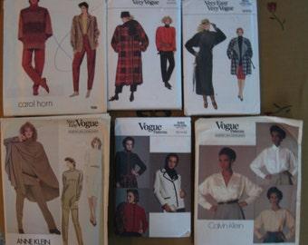 6 Vintage Vogue Sewing Patterns 1980's Sewing Patterns  Free US Shipping!
