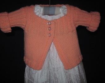 Baby Cardi Sweater Hand Knit Cardigan 0 - 12  Mths Acrylic Orange Sherbert Free US Shipping!