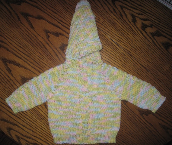 Knitting Pattern For Baby Sweater With Zipper In The Back : Baby Sweater Hand Knit Hooded Zip Back Hoodie 0 by knittingbydiane