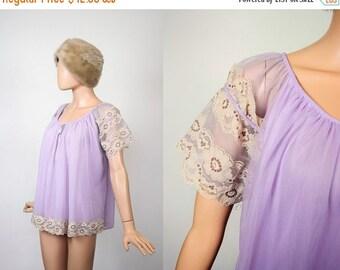 Vintage 60s Chiffon Babydoll Nightie / 1960s Mini Dress Lingerie Boudoir / Sheer Lace Pastel Lavender Cloud Negligee / Nightgown Sleepwear