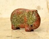 Old Vintage Jade Elephant Tao Tie Nephrite Figurine Statue
