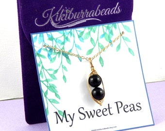 Pea Pod Necklace,  Two Peas In A Pod Necklace, Gold Pea Pod Necklace, Choose Your Color Pearls