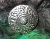 Celtic Disc Sterling Silver Brooch Pin Antique