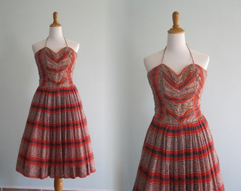 Vintage 1950s Dress - Gorgeous India Cotton Halter Dress with Matching Wrap - 50s South Pacific Party Dress XS