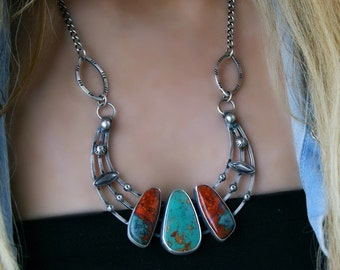 RESERVED - The Fires of Heaven - Sonoran Sunset and Turquoise Sterling Silver Necklace
