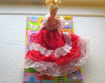 butterfly lady bug and hearts doll quilt