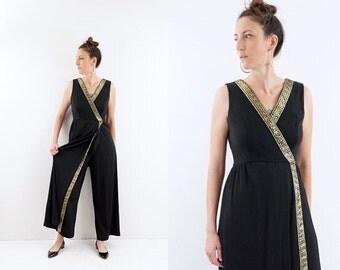 FALL SALE vintage GREEK gold + black Wrap front Cropped pantsuit M-L