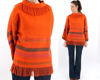 vintage 70s fringe LAPP LANDER wool BLANKET sweater M