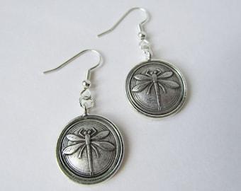 Antique Silver Dragonfly Hook Earrings (ERSP1)