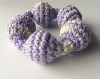 Crochet baby rattle- teething ring- new baby gift- made to order