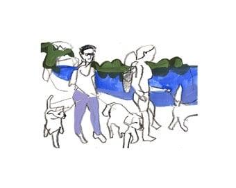 Walking the dogs- original  drawing