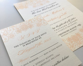 Coral Lace Wedding Invitations & RSVP cards printed on Cream Linen Pearlescent Cardstock with cream envelopes + Return address printing - 50