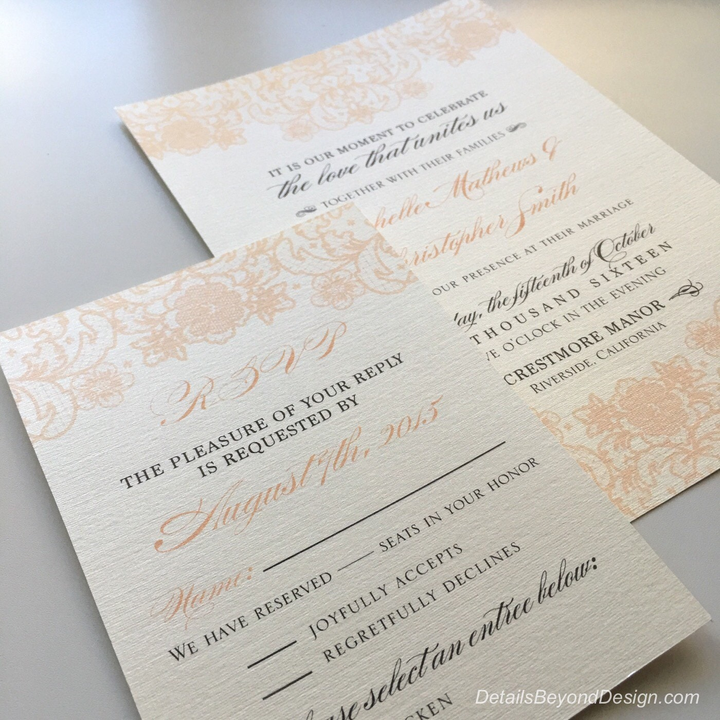 Coral Lace Wedding Invitations & RSVP Cards Printed On Cream