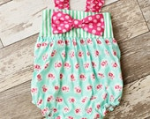 Girls Romper- Tea Rose Bow Romper-  from Melon Monkeys