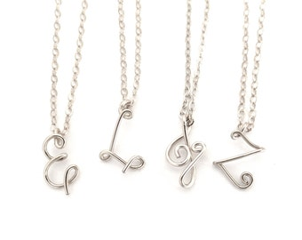 Personalized Sterling Silver Initials Necklace. Sterling Silver Letter Pendant.