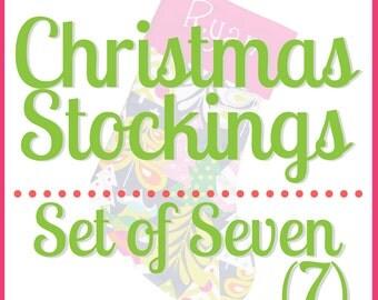 Personalized Christmas Stocking Blue Stocking Large Stocking | Set of Seven
