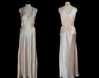 Original Vintage 1930s Peach Satin Bias Cut Slip Dress  - Medium - FREE SHIPPING WORLDWIDE