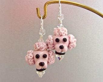 Pink Poodle Earrings - Handmade Lampwork Bead Art SRA