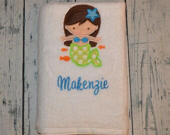 PERSONALIZED Childrens Bath Towel Monogrammed Mermaid