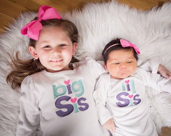 Sibling Shirt Set Big Sister Little Sister Heart Sibling set