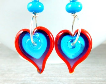 Colorful Funky Glass Heart Earrings, Statement Earrings, Red Purple Blue Lampwork Earrings, Whimsical Earrings, Playful Jewelry