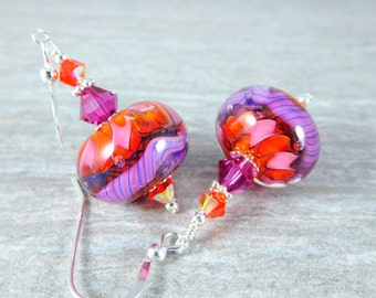Hot Pink & Orange Glass Dangle Earrings, Fun Earrings, Bright Color Jewelry, Neon Earrings, Fun Earrings Lampwork Earrings Fuchsia  Earrings