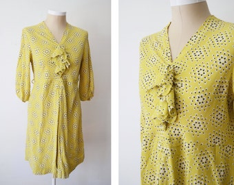 Sid Jerome 1940s Chartreuse Patterned Dress - M