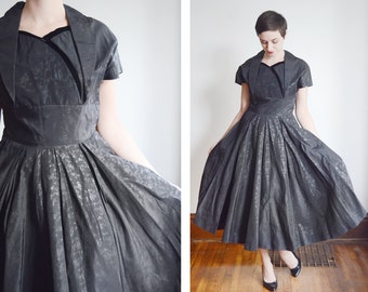 1950s Black Floral Taffeta Party Dress - M/L