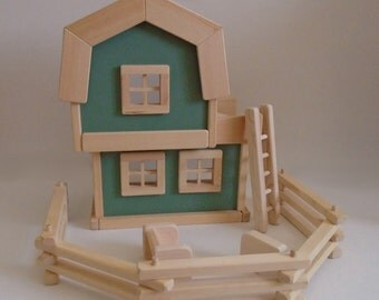Wooden Toy Farm, Natural Wood Barn Play Set, Gender Neutral Toy, Handmade Toy, Kids gift, Waldorf, Jacobs Wooden Toys