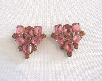 Vintage Rhinestone Dress Clips Pair Faceted Pink