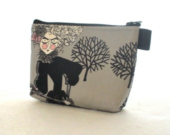 The Ghastlies Halloween Fabric Makeup Bag Cosmetic Bag Gadget Pouch Fabric Zipper Pouch Cotton Zip Pouch Alexander Henry Ghastlie Gray TGS