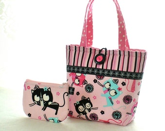 Cute Little Girls Purse Coin Purse Set Silly Kittens Mini Tote Bag Childs Purse Kids Bag Kitty Cats Fabric Pink Aqua Black Handmade MTO