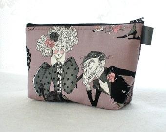 Ghastlies Fabric Large Cosmetic Bag Zipper Pouch Padded Makeup Bag Cotton Zip Pouch Alexander Henry Mauve Gray Gaspar Mathilde Ghastlie GRM