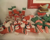 24 Vintage handmade Christmas Ornaments ~ Gingham ~ Calico Cloth ~ Gingerbread ~ Candy Canes ~ Hearts ~ Angels Stockings