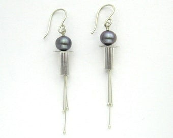 Pearl Earrings, Modern Lightweight Long Dangle