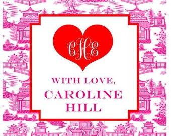 Valentine Chinoiserie Monogram Heart Sticker, Gift Enclosure Card or Return Address Label - Set of 24