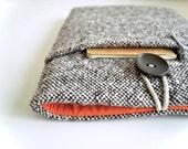 """MacBook Pro Case, MacBook Air 13"""" Sleeve, Unisex Brown Wool 11""""-15.4"""" Mac Air or MacBook Retina Display Case Padded with Pocket"""