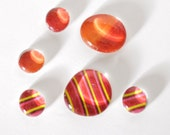 red and orange magnet or push pin set - made from recycled magazines, stocking stuffer, hostess gift, graduation