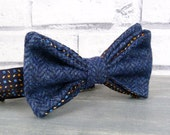 Yorkshire Tweed and Silk Bow Tie - Navy