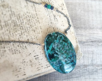 Teal Green Chrysocolla Pendant, Gold Necklace, Oxidized Sterling Silver Jewelry, Natural Stone, Sapphire Gemstone, Emerald Accent