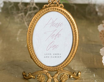 Personalized Small Oval Baroque Frame - Gold  Wedding decor, Event, Trend Chalkboard Inspired Wedding