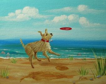 Frisbee!  Folk Art Print