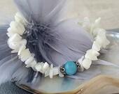 Blue Larimar quartz gemstone bracelet Beach Wedding White Mother of Pearl Bridal accessories