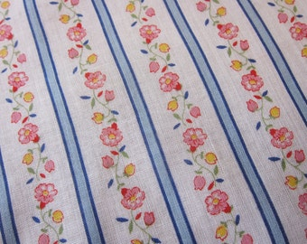 vintage dressmaking, quilting cotton, 36 inch wide,  3 yards,  lightweight, traditional ticking pattern, floral stripes, remnant.
