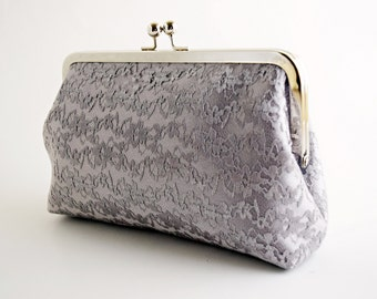 Silver Lace, Wedding Clutch, Bridal Purse, Makeup Bag, Bridesmaids Gift, Customized Gifts